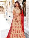 image of Fancy Fabric Designer Bridal Lehenga With Embroidery Work On Cream