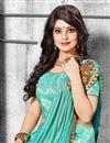 photo of Embroidered Banarasi Silk Fabric Bridal Lehenga In Cyan with Designer Choli
