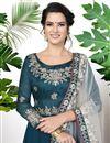 photo of Georgette Designer Festive Wear Embroidered Teal Anarkali Dress
