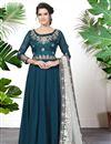 image of Georgette Designer Festive Wear Embroidered Teal Anarkali Dress