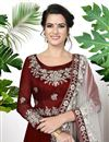 photo of Maroon Festive Wear Georgette Designer Embroidered Anarkali Suit