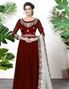 image of Maroon Festive Wear Georgette Designer Embroidered Anarkali Suit