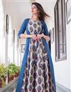 image of Fancy Fabric Blue Stylish Party Wear Digital Printed Gown