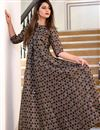 image of Brown Party Style Digital Printed Gown In Fancy Fabric