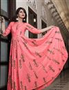 photo of Stylish Party Wear Fancy Fabric Pink Digital Printed Gown