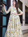 image of Party Style Beautiful Off White Digital Printed Gown In Fancy Fabric