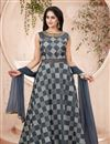 image of Festive Wear Gown In Art Silk Fabric Grey