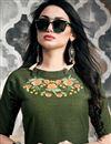 photo of Designer Dark Green Cotton Fabric Designer Kurti