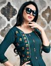 photo of Party Wear Teal Kurti In Cotton Fabric