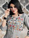 photo of Grey Indo Western Designer Cotton Fabric Kurti