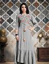 image of Grey Indo Western Designer Cotton Fabric Kurti