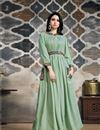 image of Designer Cotton Fabric Party Wear Kurti In Sea Green