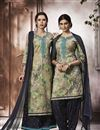image of Marvelous Dark Beige Cotton Fabric Patiala With Embroidery Work