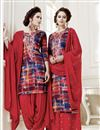 image of Marvelous Cotton Fabric Red Patiala Salwar Suit
