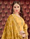 photo of Viscose Fabric Designer Embroidered Patiala Salwar Kameez In Golden With Jacquard Dupatta
