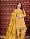 image of Viscose Fabric Designer Embroidered Patiala Salwar Kameez In Golden With Jacquard Dupatta