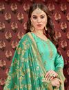 photo of Festive Wear Patiala Salwar Suit In Viscose Fabric Light Turquoise With Jacquard Dupatta