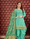 image of Festive Wear Patiala Salwar Suit In Viscose Fabric Light Turquoise With Jacquard Dupatta