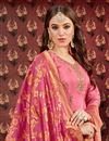 photo of Embroidery Designs On Pink Party Wear Patiala Suit In Viscose Fabric With Jacquard Dupatta