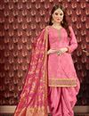 image of Embroidery Designs On Pink Party Wear Patiala Suit In Viscose Fabric With Jacquard Dupatta