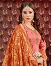 photo of Viscose Fabric Designer Embroidered Patiala Salwar Kameez In Salmon With Jacquard Dupatta