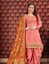 image of Viscose Fabric Designer Embroidered Patiala Salwar Kameez In Salmon With Jacquard Dupatta