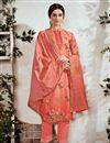 image of Party Style Cotton Fabric Peach Printed Suit With Neck Embroidery