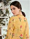 photo of Yellow Printed Cotton Fabric Party Wear Suit With Neck Embroidery