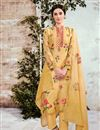 image of Yellow Printed Cotton Fabric Party Wear Suit With Neck Embroidery