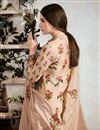 photo of Beige Printed Cotton Fabric Party Wear Suit With Neck Embroidery