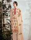 image of Beige Printed Cotton Fabric Party Wear Suit With Neck Embroidery