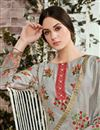photo of Designer Cotton Fabric Printed Grey Suit With Neck Embroidery