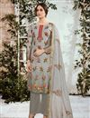 image of Designer Cotton Fabric Printed Grey Suit With Neck Embroidery