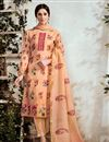 image of Party Style Peach Cotton Fabric Printed Suit With Neck Embroidery