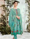 image of Cotton Fabric Printed Cyan Party Wear Suit With Neck Embroidery