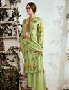 image of Printed Sea Green Party Wear Cotton Fabric Suit With Neck Embroidery