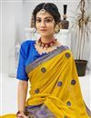 photo of Chiffon Fabric Festive Wear Embroidered Saree In Yellow