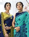 photo of Festive Wear Navy Blue Chiffon Fabric Embroidered Saree