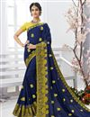 image of Festive Wear Navy Blue Chiffon Fabric Embroidered Saree