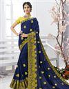 image of Festive Wear Navy Blue Chiffon Fabric Embroidered Saree