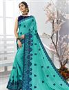image of Cyan Chiffon Fabric Embroidered Festive Wear Saree