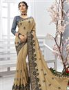 image of Beige Embroidered Chiffon Fabric Festive Wear Saree