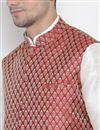 photo of Cotton Silk Fabric Party Wear White Ethnic Kurta For Men With Modi Jacket