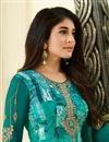 photo of Kritika Kamra Cyan Printed Brasso Fabric Designer Festive Wear Straight Cut Dress
