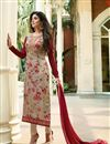 image of Kritika Kamra Designer Brasso Fabric Printed Beige Festive Wear Straight Cut Suit