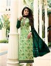 image of Kritika Kamra Sea Green Festive Wear Brasso Fabric Designer Printed Straight Cut Dress