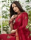 photo of Georgette Fabric Red Color Printed Daily Wear Saree
