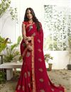 image of Georgette Fabric Red Color Printed Daily Wear Saree