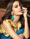 photo of Esha Gupta Sky Blue Art Silk Fabric Designer Lace Work Saree With Blouse