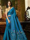image of Esha Gupta Sky Blue Art Silk Fabric Designer Lace Work Saree With Blouse